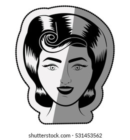 Isolated retro woman cartoon design