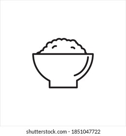 Isolated rice bowl illustration. Rice bowl vector icon. Rice bowl outline design. Rice line template design
