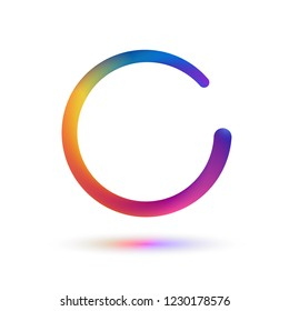Isolated ripped colorful circle vector illustration. Reload digital logo on white background. Abstract round snake