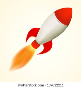 Isolated rocket, flying with flame, vector illustration