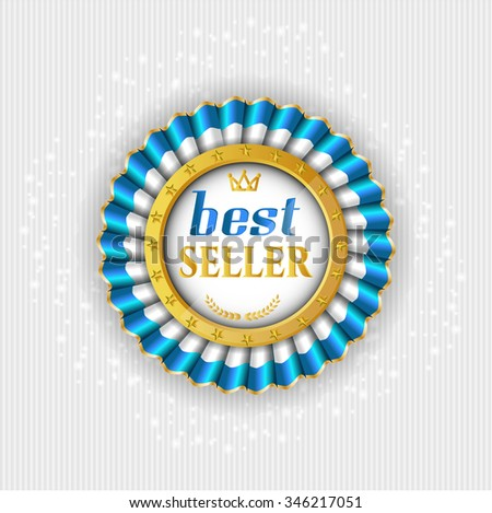 Isolated Rosette Medal Colors White Blue Stock Vector