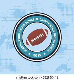 Isolated round label with a football ball. Vector illustration