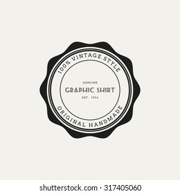 Isolated round label with text on a white background