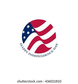 Isolated round shape American flag vector logo. US national symbol on the white background logotype.