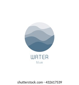 Isolated round shape logo. Blue color logotype. Flowing water image. Sea, ocean, river surface. Fresh drink sign. Swimming pool.
