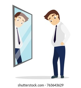 Isolated sad man looking at the mirror standing with fat belly.