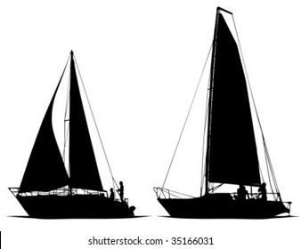 Isolated of sailboats silhouette illustration.