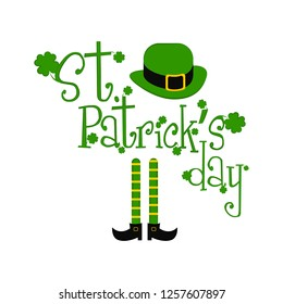 Isolated saint patricks day banner with elf legs and traditional irish hat. Vector illustration design