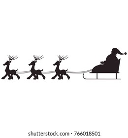 Isolated Santa Claus and reindeer sled Christmas. Black Silhouette.