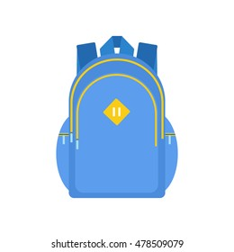 Isolated school backpack on white background. Flat style icon. Vector.