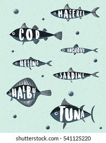 Isolated sea fishes silhouettes  with names inside. Tuna, herring, anchovy, sardine, mackerel, cod,halibut. Bubbles.  Design concept for fish restaurant.