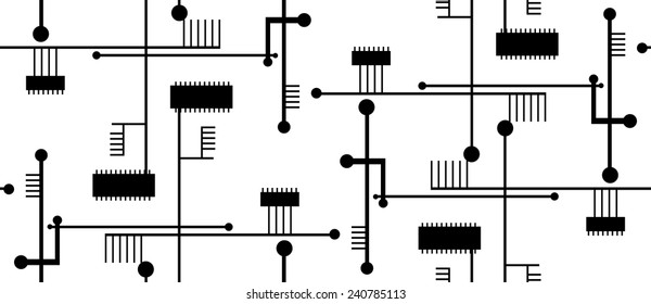 Isolated seamless circuit board pattern over white