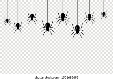 Isolated seamless pattern with hanging spiders for decoration and covering on the transparent background. Scary background for Halloween.