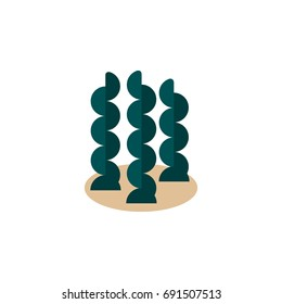 Isolated Seaweed Flat Icon. Alga Vector Element Can Be Used For Seaweed, Alga, Spirulina Design Concept.