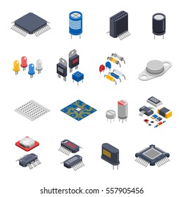 Isolated semiconductor electronic components isometric icons set with circuit board elements microprocessors electrolytic capacitors and microchips vector illustration