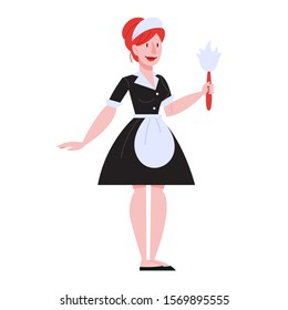 Isolated service maid. Woman in uniform with cleaning equipment. Housework routine. Cleaning service staff. Vector illustration in cartoon style