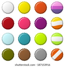 Isolated set of 16  blank colorful bottlecaps