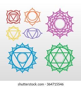 Isolated Set of beautiful indian ornamental 7 chakras. Vector illustration. Color yoga chakra icons isolated on white. 7 chakra mandalas.