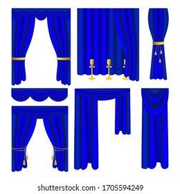 Isolated set of blue vector curtains  on white background. Realistic velvet draperies. 3d Illustration