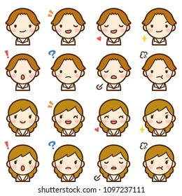 Isolated set of brown hair man and woman avatar expressions