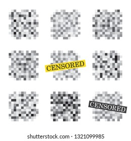 Isolated Set of censor bar. Censored signs concept. Pixel censored vector template. Censorship rectangle. Black censor bar. Censorship rectangle.