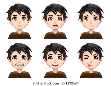 Isolated set of color cartoon boy avatar expressions