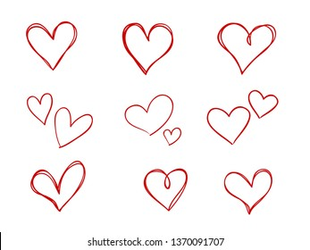 isolated set of coloring childish hand drawn red heart symbols  line art vector design