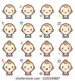 Isolated set of cute baby boy & girl avatar expressions