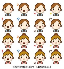 Isolated set of cute college student boy & girl avatar expressions