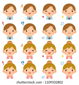 Isolated set of cute college student boy & girl flat avatar expressions