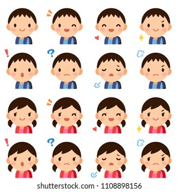 Isolated set of cute elementary school student boy & girl flat avatar expressions