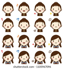 Isolated set of cute junior high school student boy & girl avatar expressions