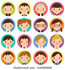 Isolated set of cute junior high school student boy & girl flat circle avatar