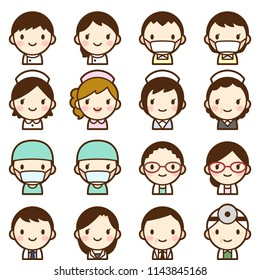 Isolated set of doctor & nurse avatar
