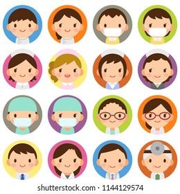 Isolated set of doctor & nurse flat circle avatar