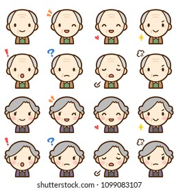 Isolated set of elderly man & woman avatar expressions