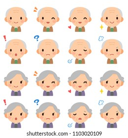 Isolated set of elderly man & woman flat style avatar expressions