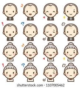 Isolated set of elderly man and woman avatar expressions