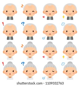 Isolated set of elderly man & woman flat avatar expressions