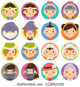 Isolated set of fantasy game characters  face flat circle avatar