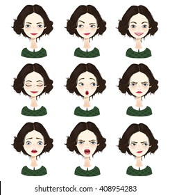 Isolated set of female avatar expressions. Vector illustration.