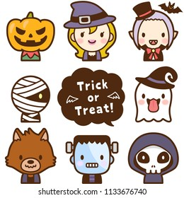 Isolated set of Halloween monsters  face avatar