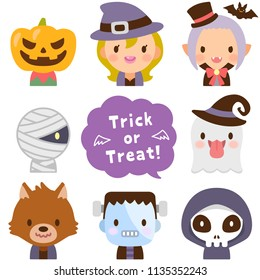 Isolated set of Halloween monsters  face flat avatar
