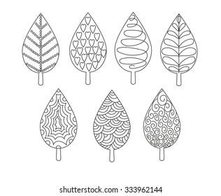 Isolated set of leaves ornament elements. Decorative components for illustrations. Ornamental foliage.