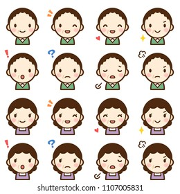 Isolated set of middle aged man and woman avatar expressions