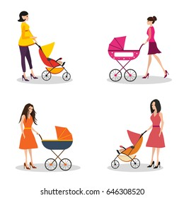 Isolated set of moms with strollers. Mom rolls a stroller. Pregnant women walks with a baby in a stroller