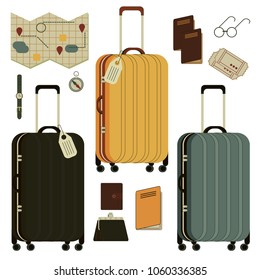 Isolated set of old vintage travel bags, cases, luggage and travel items - passport, tickets, card, compass, glasses, watch. Illustrations flat isometric icons for traveling, flying, resting, airport.