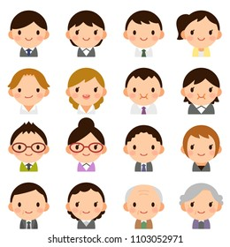 Isolated set of people all generation man & woman flat style avatar expressions