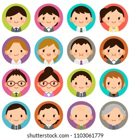 Isolated set of people all generation man & woman flat style circle avatar expressions