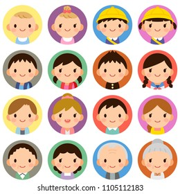 Isolated set of people all generation family man & woman flat style circle avatar expressions
